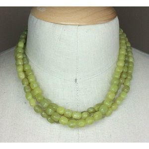 Multi Strand Women's Necklace LIght Green Stone